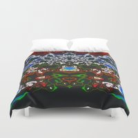 headdress Duvet Covers featuring An Elaborate Headdress by mimulux