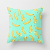 banana Throw Pillows featuring BANANA by Céline Dscps