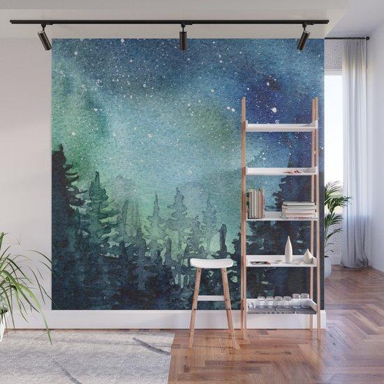 Galaxy Watercolor Aurora Borealis Painting by olechka