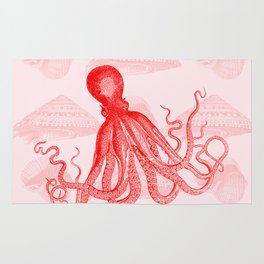 Octopus SeaShells Salmon Color Design Rug