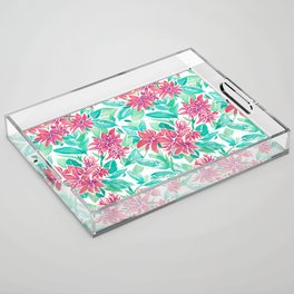 Ixora Hybrid Crimson Star Watercolor Pattern Acrylic Tray