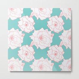 Tuquoise Tea Rose Metal Print