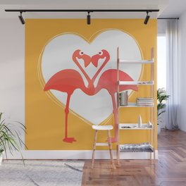 lovebirds - flamingos in love Wall Mural