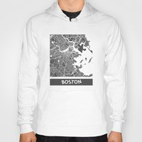 boston Hoodies featuring Boston map by Map Map Maps