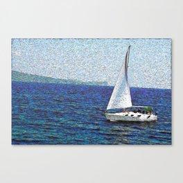 Summer / Sea / Yacht / Blue oil painting Canvas Print