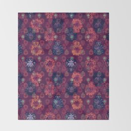Lotus flower - fire on mulberry woodblock print style pattern Throw Blanket