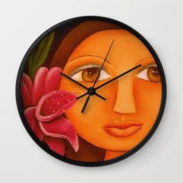 Girl-Orchid Wall Clock