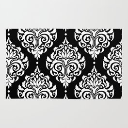 Black Monochrome Damask Pattern Rug