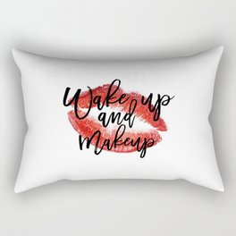 Wake up And Makeup Fashion quote Gift Idea Typographic Print Wall artwork Fashionista Mascara Print Rectangular Pillow