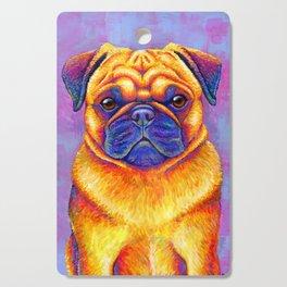 Colorful Rainbow Pug Portrait Cutting Board