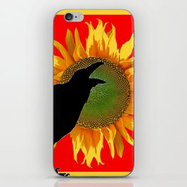 BLACK CROW YELLOW SUNFLOWER FLORAL RED ART iPhone Skin