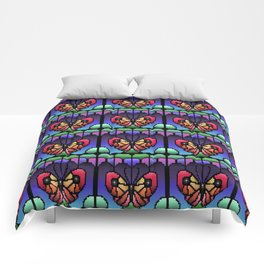 Stained Glass Pixel Butterfly Comforters