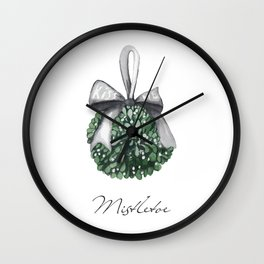 Kiss Me Under the Mistletoe Wall Clock