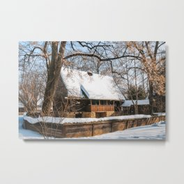 Old Romanian Cottage covered in snow Metal Print