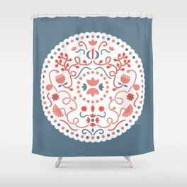 blue illustration Shower Curtain