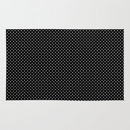 Classic White Polka Dot Hearts on Black Background Rug