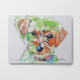 Morkie Yorkie Maltese Pop Art Dog Pet Portrait Metal Print