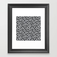 MESSY HEARTS: BLACK GRAY Framed Art Print