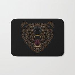 Bear Head - Line Art Grapic - Animal Drawing Bath Mat