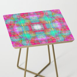 EMBROIDERED ASIAN FABRIC FANTASY COLLAGE Side Table