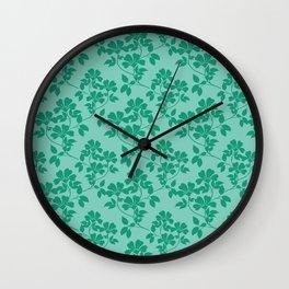 Emerald Green Leaves Wall Clock