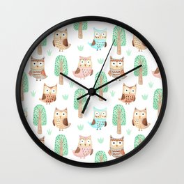 Hand painted pastel coral brown watercolor cute owls floral Wall Clock