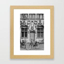 Bruges in Black & White Framed Art Print