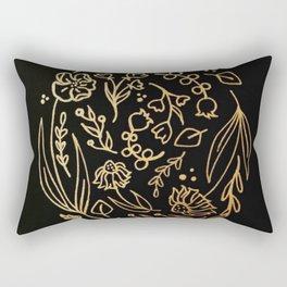 Golden Autumnal Equinox Oval Shaped Floral Illustration Rectangular Pillow