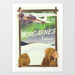 Iceland Borgarnes Flight poster Art Print