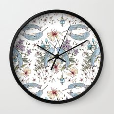 Narwhal pattern Wall Clock