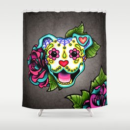 Smiling Pit Bull in White - Day of the Dead Pitbull Sugar Skull Shower Curtain