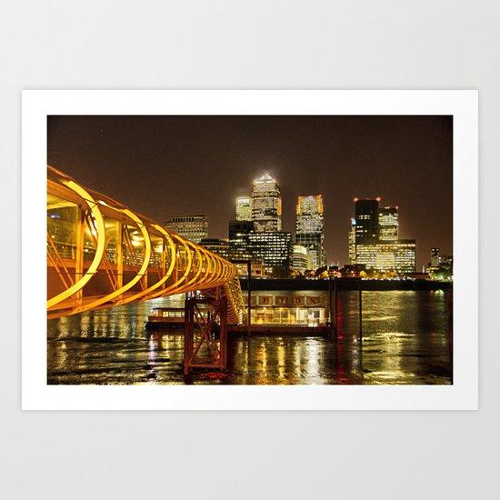 London, Piers of Docklands Hilton Art Print