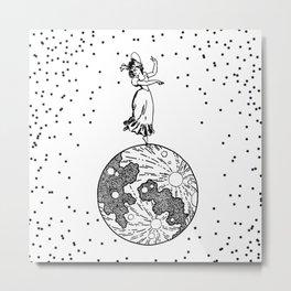 woman on the moon Metal Print