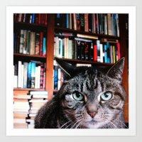 Bookish Feline Art Print