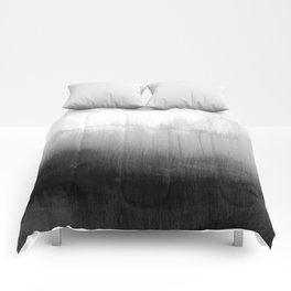 Modern Black and White Watercolor Gradient Comforters