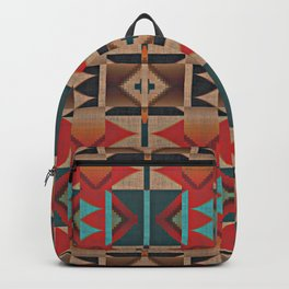Native American Indian Tribal Mosaic Rustic Cabin Pattern Backpack