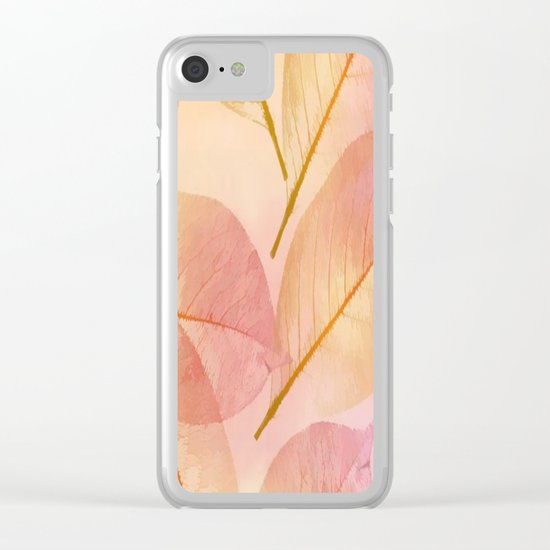 Pastel Fall Leaf Abstract Clear iPhone Case