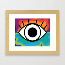 Bright Rainbow Eye Design Framed Art Print