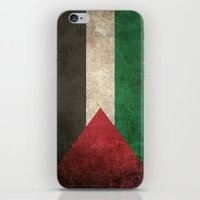 palestine iPhone & iPod Skins featuring Old and Worn Distressed Vintage Flag of Palestine by Jeff Bartels
