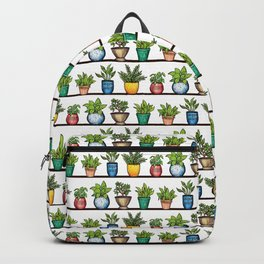 Houseplants Pattern - Colorful Potted Plants On Shelves Backpack