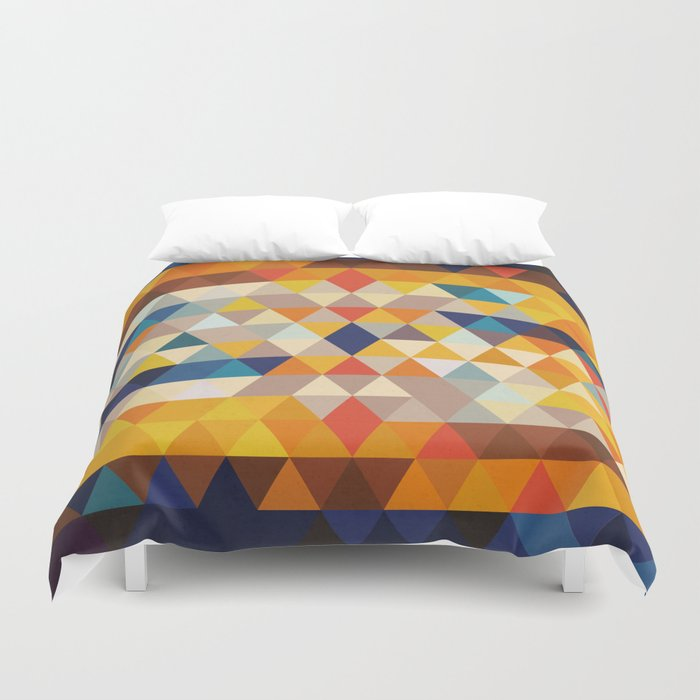 Geometric Triangle Ethnic Inspired Pattern Orange Blue Duvet Cover By Pelaxy Society6