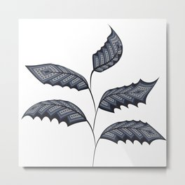 Abstract leaves - denim photocollage Metal Print