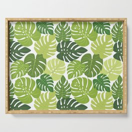 Monstera Leaves Pattern (white background) Serving Tray