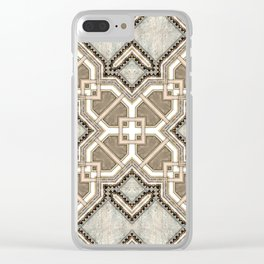 Victorian Art Deco Medieval Pattern light gray SB27 Clear iPhone Case