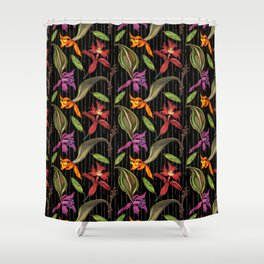 Orchids & Ink (Black Background) Shower Curtain