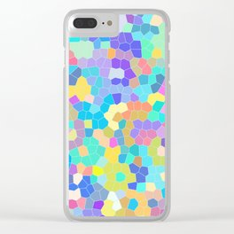 Stained glass print, colorful crystal shapes Clear iPhone Case