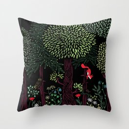 Into The Woods At Night Throw Pillow