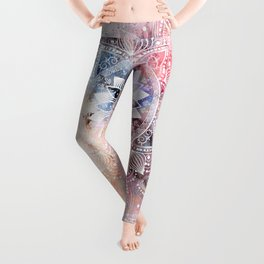 Whimsical white watercolor mandala design Leggings