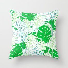 Banana Leaf in Teal Throw Pillow