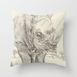 mask of the rhino Throw Pillow